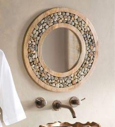 farmhouse home accents Bloomsbury Market Froelich Riverstone Framed Round Accent Mirror Unique Bathroom Mirrors, Decorative Mirrors, Small Bathrooms, Rustic Home Interiors, Round Wall Mirror, Mirror Mirror, Sunburst Mirror, Wall Mirrors, Mirror House