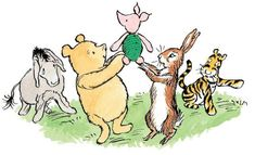 The other players on the Four Legs side—Tigger, Pooh, Rabbit, and Eeyore—gathered around Piglet and raised him high into the air