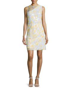TBCZE Carven Sleeveless Floral Organza Sheath Dress, White/Yellow