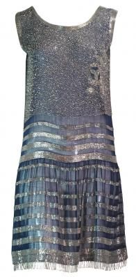 1920's blue and silver beaded flapper dress