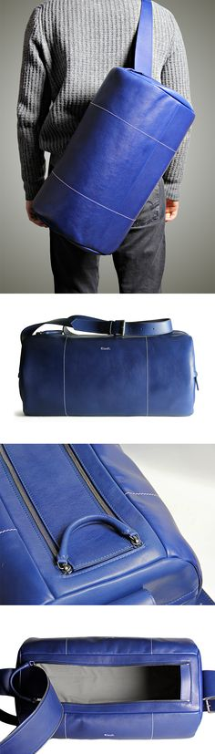 > Klauft. | Barrel Bag | Navy Blue < Sporty barrel bag model has been…