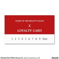 Minimal Red White Scissor Beauty Loyalty Card