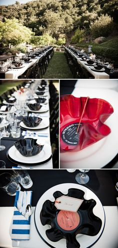 LOVE LOVE LOVE The melted vinyl records!  melted vinyl record bowls as wedding favors, music inspired wedding table top decor, diy wedding at Calliote Canyon, Ojai, CA, photos by Viera Photographics