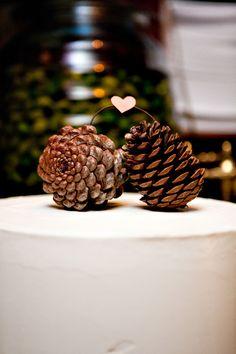 Pine cone cake topper. Photo: Rachel Thurston