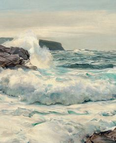 "Frederick Judd Waugh (American, 1861-1940) ~ "" Surf at High Noon"" (Détail)"