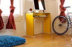 yellow minimalist desk