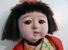 Vintage Japanese Ichimatsu Girl Baby Doll Gofun Glass Eyes Friendship