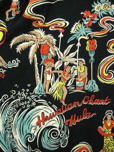 1940年代 VINTAGE ハワイ柄 POI POUNDER TOG(ハワイアン・トグス社のポイ・パウンダー・トッグ)製 レーヨンHAWAIIANシャツ サイズS MARVIN'S ヴィンテージ Hawaiian Wear, Vintage Hawaiian Shirts, Hawaiian Tattoo, Hawaiian Print, Hawaiian Pattern, Motifs Textiles, Tiki Art, Vintage Travel Posters, Vintage Ski
