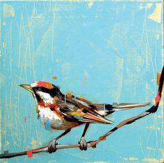 This painting just makes my heart jump -- the cool blue of the background, the rich splashes of warm colors, the movement of the bird. It just feels alive!