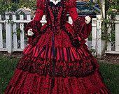 Maskerade Circus Ball Gown gotische viktorianische rot schwarz 5 Stück Set einzigartig!  Größe Medium