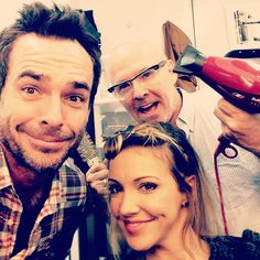 Dropping in on the #Arrow hair dept to see the marvelous Paul Edwards and fabulous @katiecassidy @MzKatieCassidy