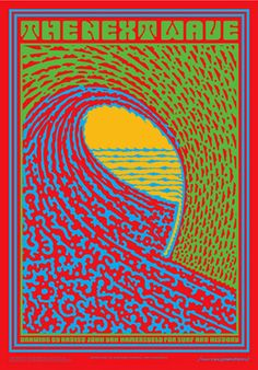 John Van Hamersveld The Next Wave Poster Wave Illustration, Vintage Illustration Art, American Illustration, Illustrations, Surf Drawing, Persian Architecture, Yearbook Covers, Bedroom Wall Collage, Rock Posters