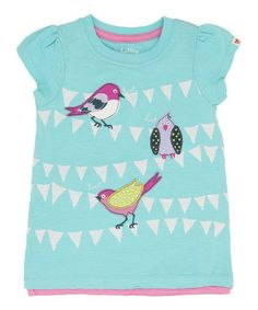 Aqua Bunting Birds Tee - Toddler & Girls #zulily #zulilyfinds