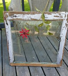 Old Wood Window , Window Frame, Single Pane Window, Antique Window, Chippy Window, Painted Window, Primitive Decor, Wedding Decor 109