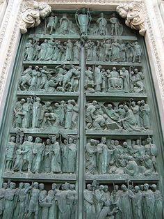 Duomo door, Milan, Italy