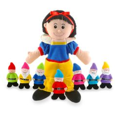 Snow White & Seven Dwarfs Hand Puppets Fiesta Crafts Childrens Role Play Toy Hand Puppets, Finger Puppets, People Puppets, Story Of Snow White, Snow White Seven Dwarfs, Toy Theatre, Wicked Ways, Creative Play, Communication Skills