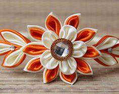 Orange and Cream Kanzashi Flower headband Handmade Custom orders Fabric Wedding flowers Headbands Brides Maids