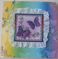 Rainbows Butterflies Lace and Skies Backing Paper Kit on Craftsuprint created by Chell Sharpe - I printed the sheet out onto 220gsm good quality photo paper. I used an 8x8 card blank