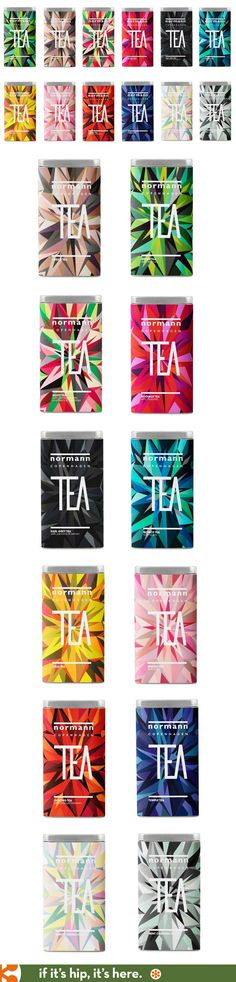 A range of beautifully designed tea tins for Normann Copenhagen loose teas.