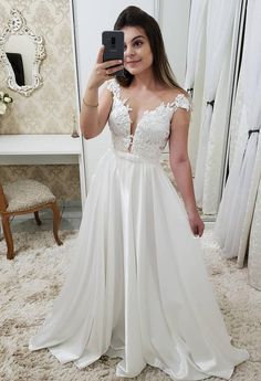 2019 White Wedding Party Dress Chiffon Illusion Cap Sleeve Formal Gown With Lace Appliques on Luulla A Line Prom Dresses, Wedding Party Dresses, Formal Wedding, Formal Gowns, Chiffon Dress, Lace Applique, White Lace, Marie, Evening Dresses