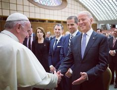 Pope Francis meets with US Vice President Joe Biden at the Vatican during a conference on medical issues, including cancer treatments. 29 April 2016