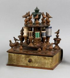 Pine and bass wood sewing box, circa 1880. I love this! Best combo, birds and sewing !