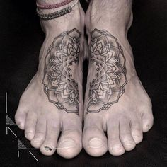 Matching mandala tattoo on the feet. Tattoo artist:...