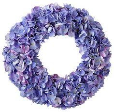 Wreath Dried Hydrangea, Purple/Green traditional artificial flowers | HOUZZ
