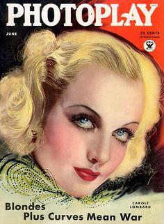 Vintage Movie Magazine - 1934 Photoplay Cover - Carol Lombard - by Earl Christy Life Magazine, Star Magazine, Movie Magazine, Carole Lombard, Vintage Movie Stars, Vintage Movies, Vintage Ads, Vintage Images, Vintage Prints