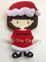 Chistmas outfit for felt dolls available at https://www.etsy.com/shop/SchoolhouseBoutique