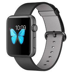 Apple® Woven Nylon Sport Watch 42mm Space Grey Aluminum Case - Black. Image 1 of 2.
