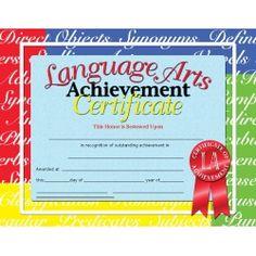 "Language Arts Achievement Certificate. 8 1/2"" x 11"". Set of 30. $5.79 #awards"