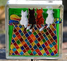 Fireside Cats Glass Block, Hand Painted Glass Cat Night Light, Pop Art Gift for a Cat Lover, Garden Ornament & Vibrant Window Suncatcher Painted Glass Blocks, Hand Painted, Paint Recycling, Painting Carpet, Backyard Pool Designs, Led Fairy Lights, Block Craft, Image Originale, Led Christmas Lights