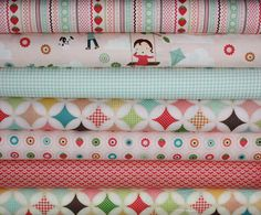Fly A Kite Fabric by October Afternoon for Riley by fabricshoppe- need fabrics with RED for eva's car seat cover