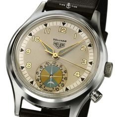 """A look at the history of TAG Heuer- this time, Heuer through the and with the first """"Flieger"""" Pilots watches and the Heuer Autavia dashboard timers Dream Watches, Luxury Watches, Cool Watches, Rolex Watches, Watches For Men, Wrist Watches, Tag Heuer, Vintage Rolex, Vintage Watches"""