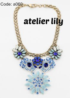 Blue flower necklace, Crystal Necklace,  baubles short necklace Bib Necklace,handmade beaded necklace, bubble necklace, Statement necklace, $34.99 (buy 2 and get 1 free!)