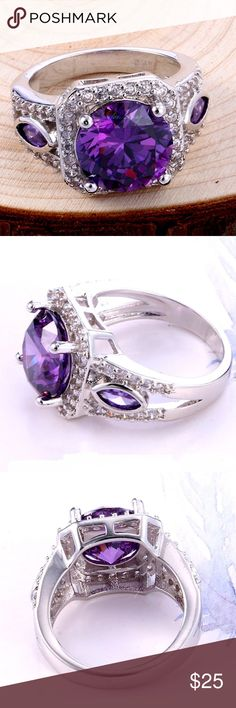 Princess-Cut 2.5CT Amethyst and White Sapphirei St Marvellous Purple Amethyst and White Sapphire Sterling Silver .925 Ring  impressive Princess-Cut 2.5 CT Jewelry Rings