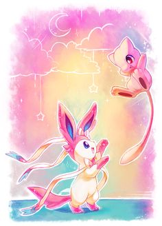 """Playing around"" drawn by kori7hatsumine ... sylveon, mew, pokemon"