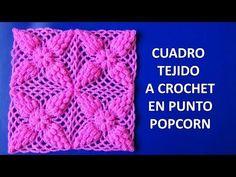 Cuadro a crochet # 1 en punto popcorn paso a paso - YouTube