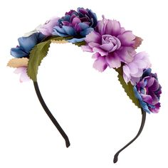 Get the galactic look mixed with the fun of a flower crown! This headband features pretty metallic leaves as well as purple & navy faux flowers arranged on the thin black band. Flower Hair Band, Flower Crown Headband, Flower Crown Wedding, Flower Crowns, White Headband, Faux Flowers, Flowers In Hair, Purple Flowers, Band Nails