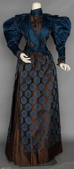 Chocolate brown and navy blue silk brocade afternoon dress, c. 1895. via Augusta Auctions.
