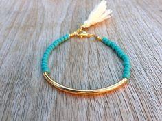 Gold tube bracelet, Beaded Bracelet, beeded bangle, tassel bracelet, Friendship bracelet, seed beads bracelet, turquoise beads bracelet