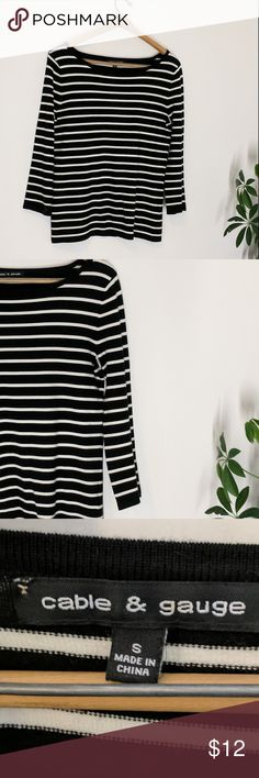 Cable & Gauge striped knit top Classic, always chic black and white striped scoop neck top from Cable & Gauge. Wide boat neck, black at neck and end of sleeves. Very soft knit. Size small. In excellent used condition! Cable & Gauge Sweaters Crew & Scoop Necks