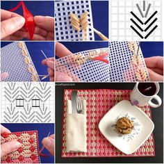 """If you are looking for a bit of beautiful, yet incredibly practical inspiration for your table, you definitely won't want to miss this plastic canvas """"straw"""" placemats .  Check directions--> http://wonderfuldiy.com/wonderful-diy-leaf-stitch-straw-placemats/"""