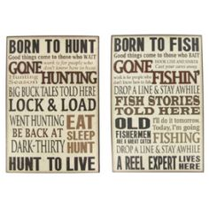 Assorted Born to Hunt or Born to Fish Wall Plaque