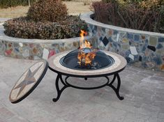 The Saltillo is a combined table and fire pit for your patio or garden. The Saltillo patio table fire bowl is revealed by removing the center of the table, and you can then use the Saltillo as an outdoor heater. Fire Pit Table Top, Fire Pit Chairs, Fire Pit Seating, Backyard Seating, Backyard Ideas, Firepit Ideas, Fire Pit Wall, Fire Pit Decor, Diy Fire Pit