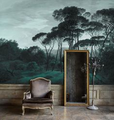 Discover our bespoke wallpaper mural Pine Trees with its stone pines in sumptuous and intense green hues. This ancient painting reworked by… Chinoiserie Wallpaper, Tree Wallpaper, Wallpaper Murals, Future Wallpaper, How To Hang Wallpaper, Wallpaper Paste, Modern Wallpaper, Custom Wallpaper, Deco Baroque