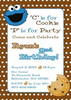 Cookie Monster Invitation Sesame Street Invite by CMLDesigns, $16.00