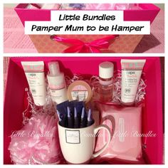 Pamper Hamper for Mum to Be. Help her pamper herself while she progresses her pregnancy by letting her know not to forget herself. This hamper has everything she needs from bump care to a cup of hot chocolate.  Pamper Mum to be hamper Contains:  100ml Shower and Bath Crème, 50ml Stretch Mark Oil, 50ml Firming Bust Cream, 75ml Bump Butter 50ml Leg and Foot Gel 1 Loofah 1 fine china mug 5 hot chocolate sachets 1 pack of wet wipes 1 pack of Kleenex tissues 1 hamper box  **Please note the…