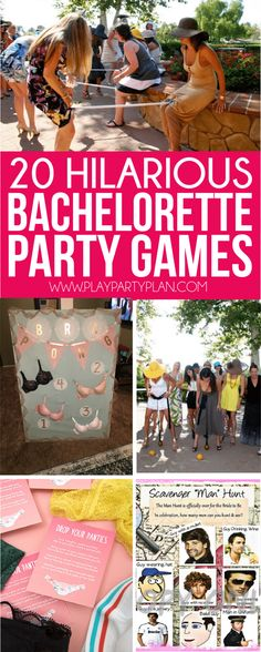 20 funny and unique bachelorette party games that work whether you're headed to a hotel or staying at home! Everything from a man scavenger hunt to tons of printable girls night games, there are hilarious ideas for every type of party! Love that this incl Bachelorette Party Themes, Bachelorette Weekend, Bachelorette Scavenger Hunt, Bachelorette Drinking Games, Funny Bachelorette Ideas, Gifts For Bachelorette, Bachelorette Checklist, Bachlorette Party Ideas Diy, Bachelorette Sayings